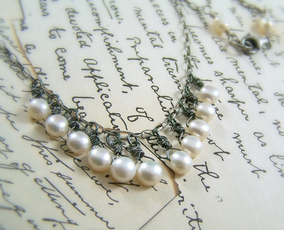 Necklace - Sterling Silver & Freshwater Pearls - Handmade - June Bride