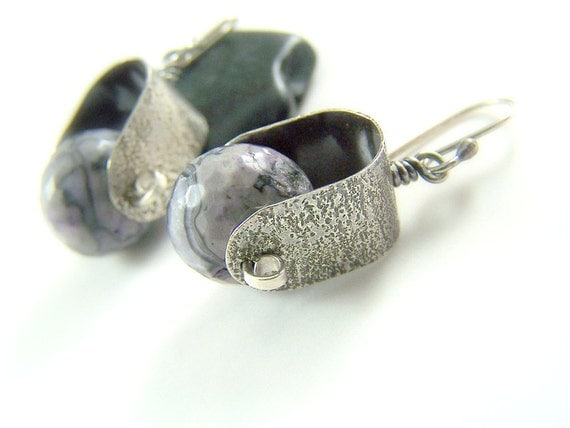 Purple Earrings, Agate Jewelry, Sterling Silver, Metalwork Earrings, Hammered Jewelry, Crazy Lace Agate, Lavender