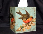 Robin Decoupage Tissue Box Cover