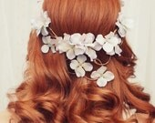 Boho bridal head piece - Diana - woodland crown, flower crown, wreath, weddings