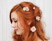 Rose hair clips, blush pink hair pins, flower bobby pins, wedding hair accessories - Cecile