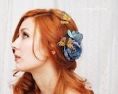 Butterfly hair clip, blue rose hair pin, bridal head piece, hair accessory - Blue skies