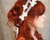 Wedding hair band, pastel blue flower headband, bridal head piece, silver hair accessories - Gossamer threads