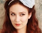 Cosette - a powder blue millinery pearl headband - SALE
