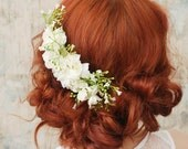 Wedding headpiece, white flower comb, shabby chic bridal comb, flower hair comb - Elora - Hair accessories by Gardens of Whimsy on Etsy