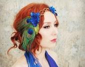 Peacock crown, velvet flower head piece, floral wreath, hair accessories -  Daenerys