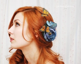 Butterfly hair clip, blue rose hair pin, bridal head piece, hair accessory - Blue skies