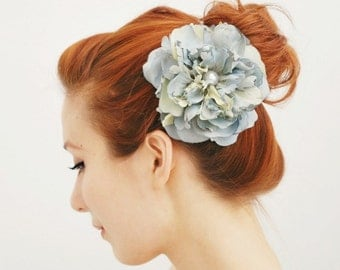 Bridal hair clip, wedding accessory, flower head piece, blue floral hair accessory - Blue Danube