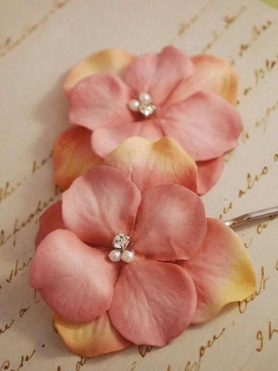 Pink flower hair clips, wedding hair pins, floral bobby pins, bridal clip, hair accessories -Talulla
