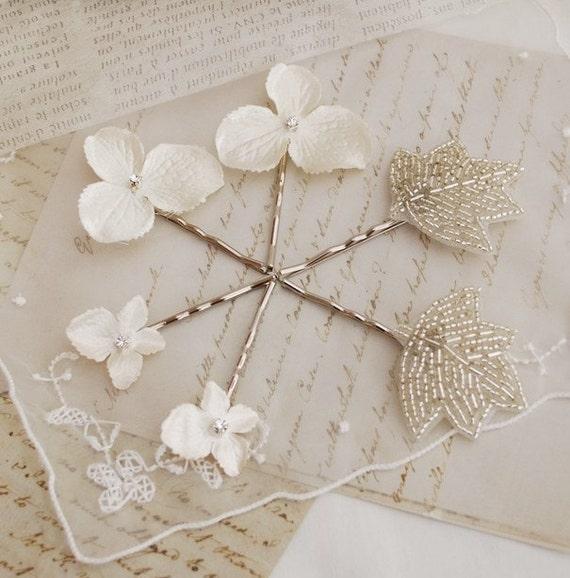 Wedding hair clips, white flower bobby pins, hydrangea hair pins, bridal hair accessories - Ella