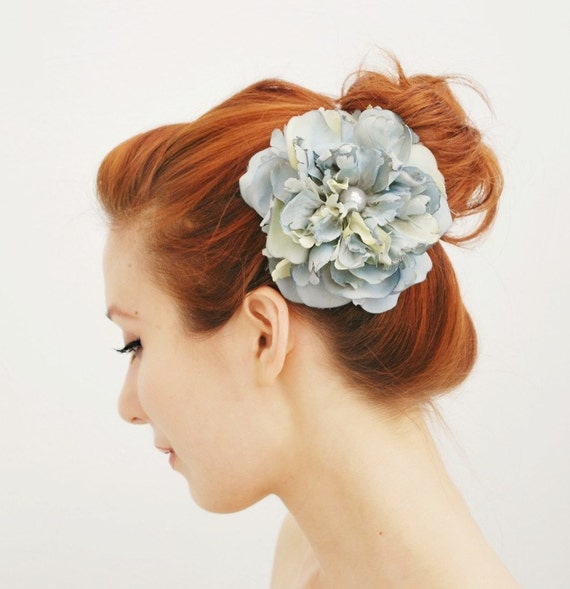 Bridal hair clip, wedding accessory, flower head piece, blue floral hair accessory - Blue Danube