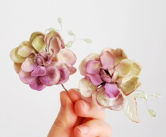 Flower bobby pins, lavender velvet floral clip set, hair accessories - Fae blossoms