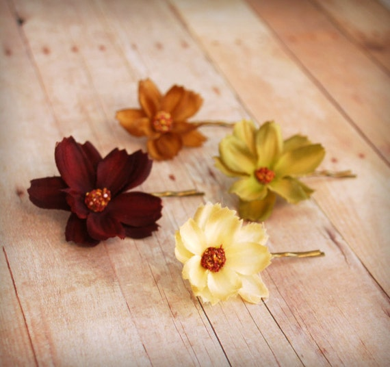 Autumn floral bobby pins, fall hair pins, flower hair clip set - Changing seasons - hair accessories