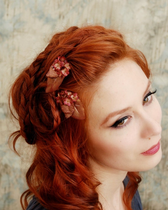 Flower hair clips, bronze flower bobby pin, floral clip set, hair accessories - Morgan le Fay