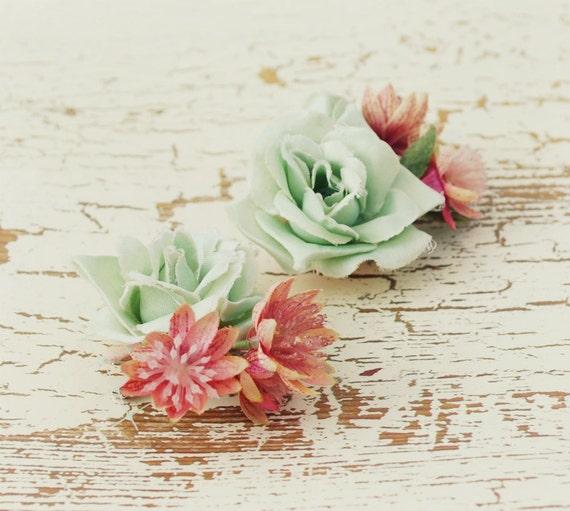 Mint roses - vintage millinery clip set