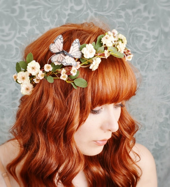 Delphine - wild rose and butterfly hair wreath