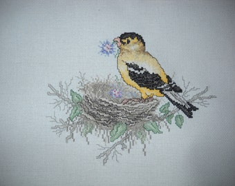 "Stoney Creek completed cross stitch ""American Gold Finch""."