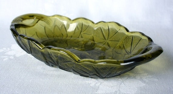 Set of 3 Indiana Green Lily Pons Glass Relish Dish