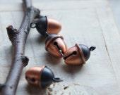 Acorn Bell Charm Antique Copper Cute Japanese Kawaii Charms 2pcs A Pair