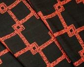 RESERVED Black and Orange Square Motif Never Used Vintage Kimono Silk Bolt