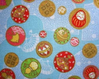 Japanese Kawaii Cute Lucky Charms Cotton Fabric Cyan Blue Fat Quarter