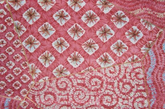 Shibori Motif Japanese Cotton Satin Pink Abstract Fat Quarter