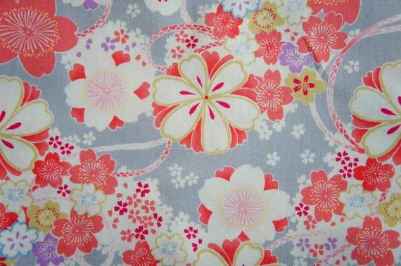 Sakura Cherry Blossom Light Gray Japanese Cotton  Fat Quarter
