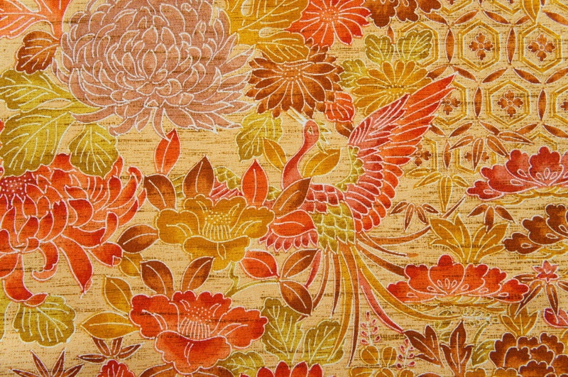 Reserved Beautiful Japanese Batik Orange Brown Kimono Fabric