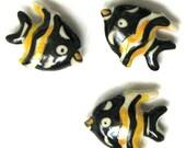 100 Ceramic Yellow and Black Striped Angelfish Beads Fish