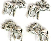 4 Silver Plated Moose Charms