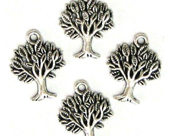 4 Silver Plated Tree of Life Charms Trees