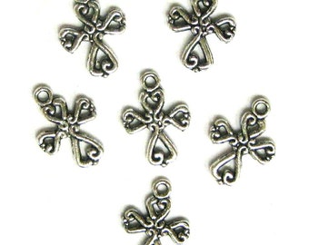 6 Silver Plated Ornate Cross Charms Crosses