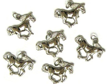 6 Nickel Plated Horse Charms with Bails Horses