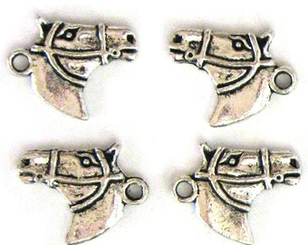 4 Silver Plated Horse Head Charms Horses