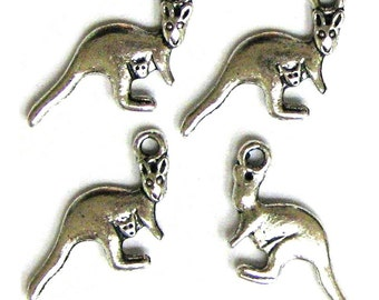 4 Silver Plated Kangaroo Charms Kangaroos