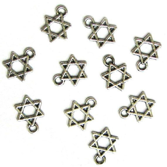 10 Silver Plated Small Star of David Charms Stars No 2