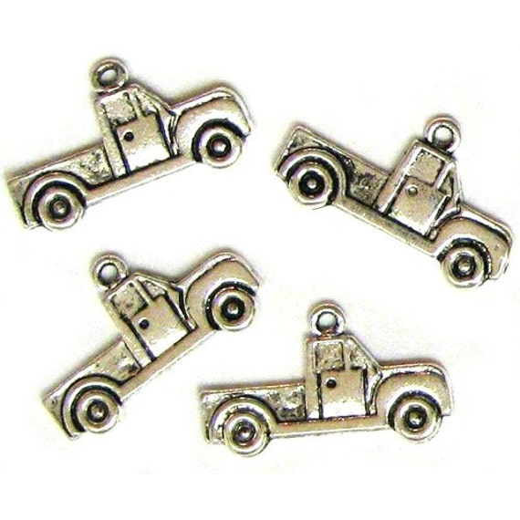 4 Silver Plated Pickup Truck Charms Trucks