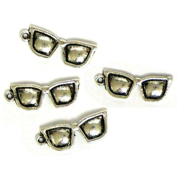 4 Silver Plated Sunglasses Charms Shades Glasses Specs