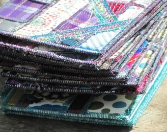 Gosh Danged Gorgeous Quilted Postcards - 4 Teal Dreamin Quilts
