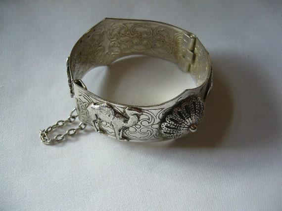 SALE Vintage Souvenir Cuff Bracelet with Hand of Fatima or Hamsa & Camel