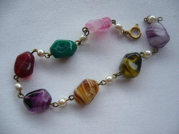 RESERVED SALE Vintage Venetian Glass Bead Bracelet