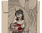 Zombie Birthday Girl Card