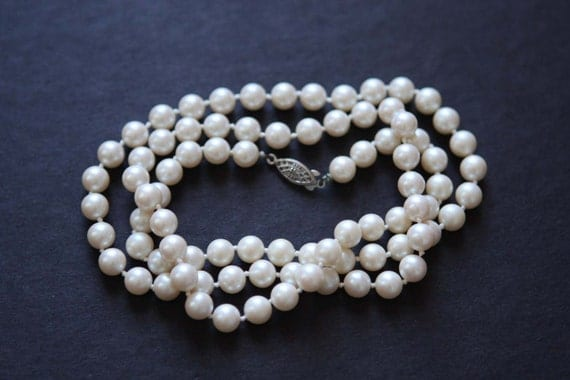 Faux Pearl Necklace Vintage Knotted 32 inch long