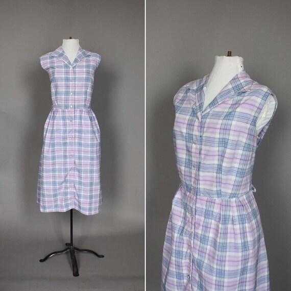 Dress 50s 60s Vintage Summer Day Dress 1950s 1960s Sleeveless Plaid XL Plus Size