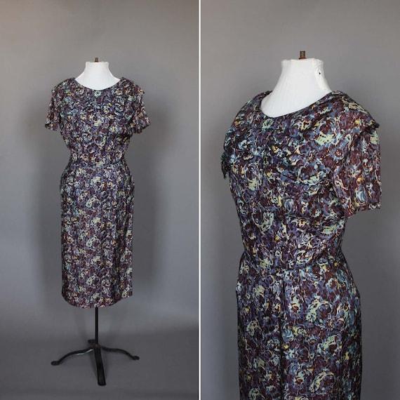 Dress 50s 60s Vintage Cocktail Party Dress 1950s 1960s Floral Wiggle Bow M L