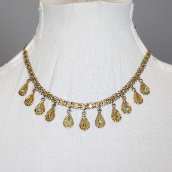 Necklace Vintage Gold Tone Filigree with Tear Drop Dangles and Faux Turquoise 70s 1970s Egyptian Revival