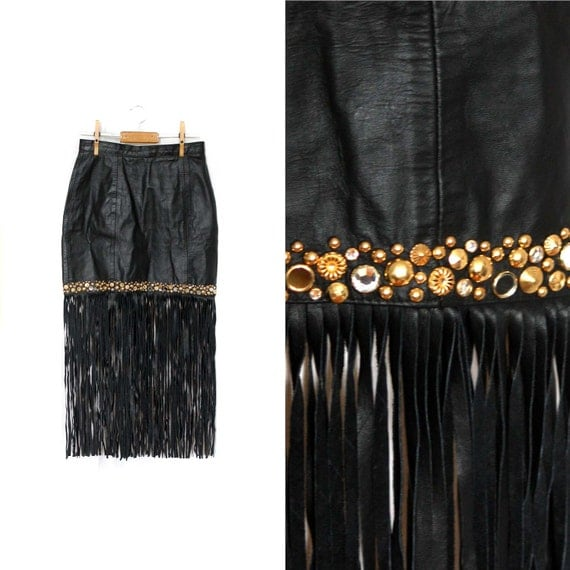 Leather Fringe Skirt Vintage Black 80s Mini Skirt with Gold Embellishments 1980s S