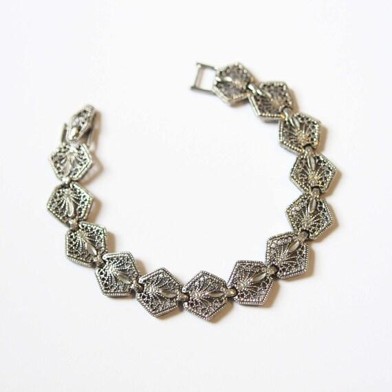 Bracelet Vintage Silver Filligree Metal Link Suite Bracelet