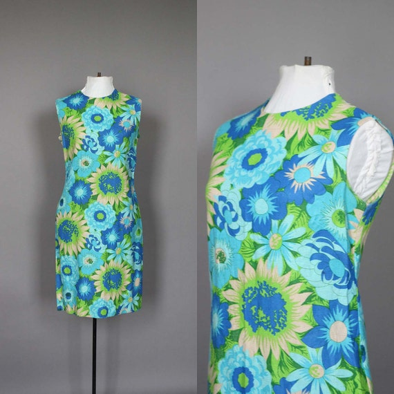 SALE Dress 60s Mod Floral 1960s Blue and Green Sleeveless Summer Day Dress M