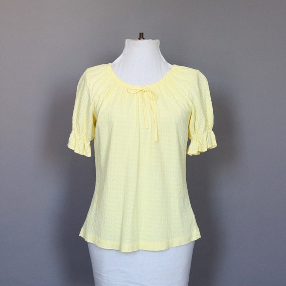 Blouse Shirt Vintage Yellow Peasant Top Short Sleeve Lacey 70s 1970s M L